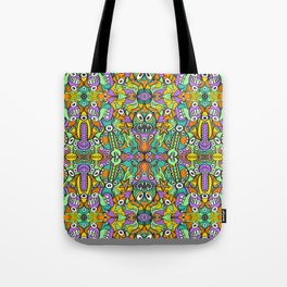 Tropical aquatic creatures in doodle art style forming a colorful pattern design Tote Bag