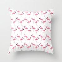 flamingo Throw Pillows featuring Flamingo by Vickn
