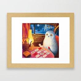 Snow Owl In The Old Car Framed Art Print