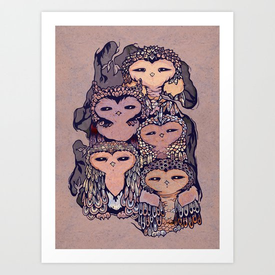 Day Owls Art Print