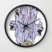 nightmare Wall Clocks featuring Nightmare by Michael Rajnicek