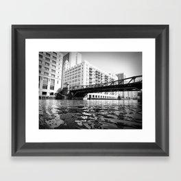 Black and White Chicago River Bridge Photography Framed Art Print