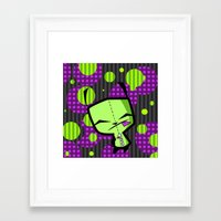 invader zim Framed Art Prints featuring Happy Gir from Invader Zim by NefariousBear
