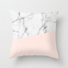 Real White marble Half Salmon Pink Throw Pillow