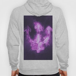Planet Neptune Symbol. Neptune sign. Abstract night sky background. Hoody
