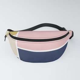 Color Blocks: Mustard Yellow, Navy Blue, Pink, Almond, White, and Grey. Geometric Minimalism Fanny Pack