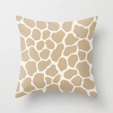 Giraffe Animal: Camel Cream Throw Pillow