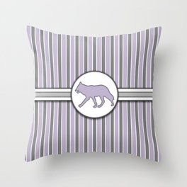 Wolf on Purple Stripes Pattern Design Throw Pillow