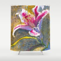lily Shower Curtains featuring Lily by Spinning Daydreams
