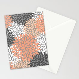 Floral Pattern, Coral, Gray, White Stationery Cards