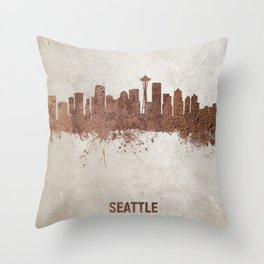 Seattle Washington Rust Skyline Throw Pillow
