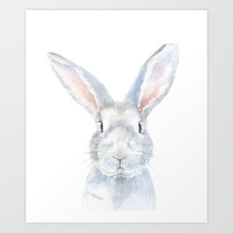 Gray Bunny Rabbit Watercolor Painting Art Print
