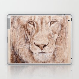Lion Portrait - Drawing by Burning on Wood - Pyrography Art Laptop & iPad Skin