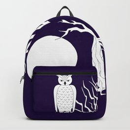 owl, cat, moon and tree Backpack