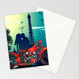 Romantic Kiss in Paris Stationery Cards