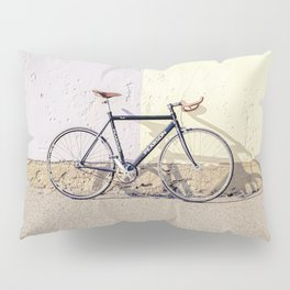 BLACK AND GRAY CITY BIKE LEANING ON WHITE WALL Pillow Sham
