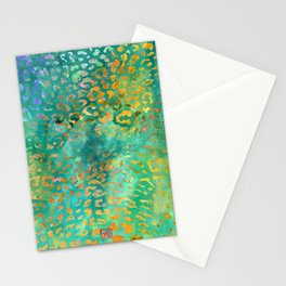 Leopard Print Pattern - Animal Print Design Green Watercolor Stationery Cards