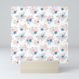 Blush Pink and Navy Watercolor Florals Mini Art Print