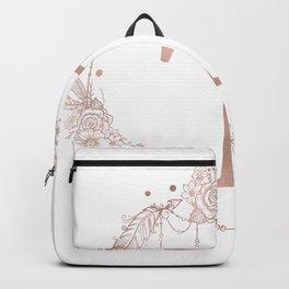 Letter T Rose Gold Pink Initial Monogram Backpack