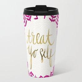 Treat Yo Self – Pink & Gold Travel Mug