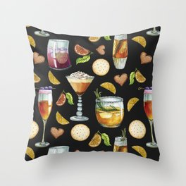 Cocktail and Biscuit Pattern Black Background Throw Pillow