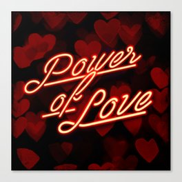 Inspirational love quotes retro neon sign, Valentine's red black hearts bokeh pattern Canvas Print