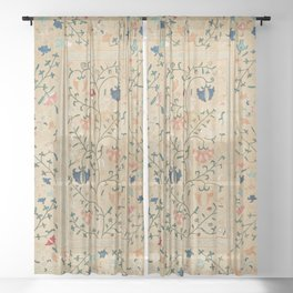 Uzbekistan Suzani Nim Embroidery Print Sheer Curtain