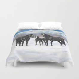 Beautiful Black Quarter Horses In Snow Duvet Cover