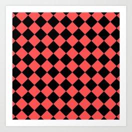 Rhombus (Black & Red Pattern) Art Print