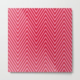 Bright Pink and Red Geometric Zig Zag Pattern by Design by Cheyney Metal Print
