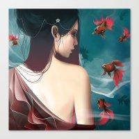 geisha Canvas Prints featuring Geisha by Nicolas Jamonneau
