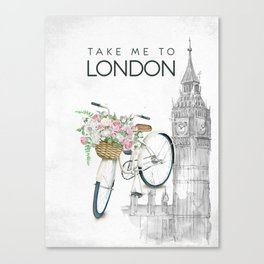 White Vintage Bicycle with Flowers in London Canvas Print