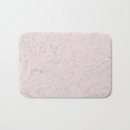 Blush pink elegant silver glitter abstract marble Bath Mat