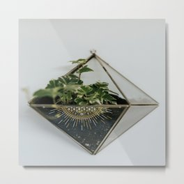 Flower Box with Gold and White Design Metal Print