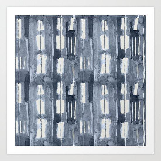 Simply Shibori Lines in Indigo Blue on Lunar Gray Art Print