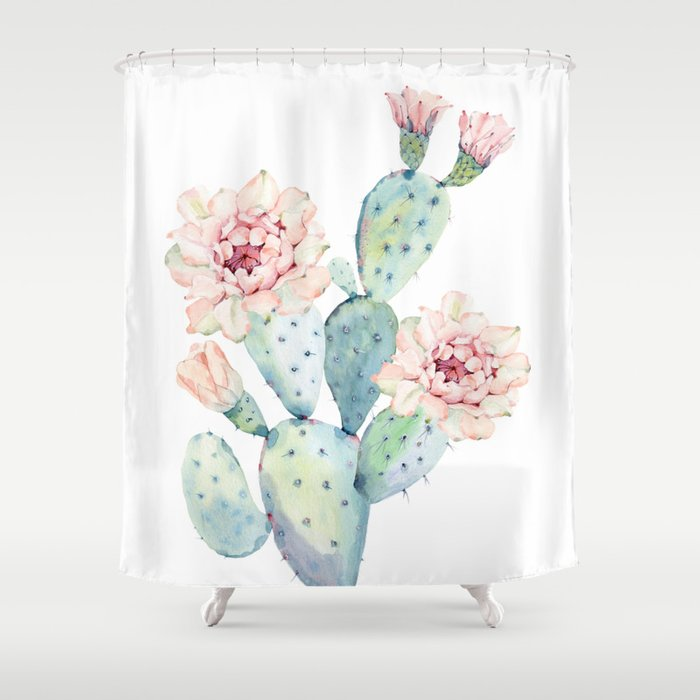 The Prettiest Cactus Shower Curtain