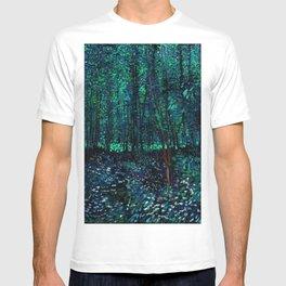 Vincent Van Gogh Trees & Underwood Teal Green T-shirt