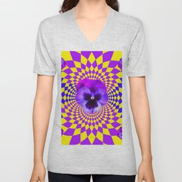 OPTICAL LILAC PURPLE PANSIES YELLOW  GEOMETRIC ART Unisex V-Neck