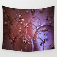 glass Wall Tapestries featuring Red Glass Bubbles by Brown Eyed Lady