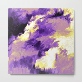 Nonbinary Pride Textured Abstract Paint Wave Metal Print