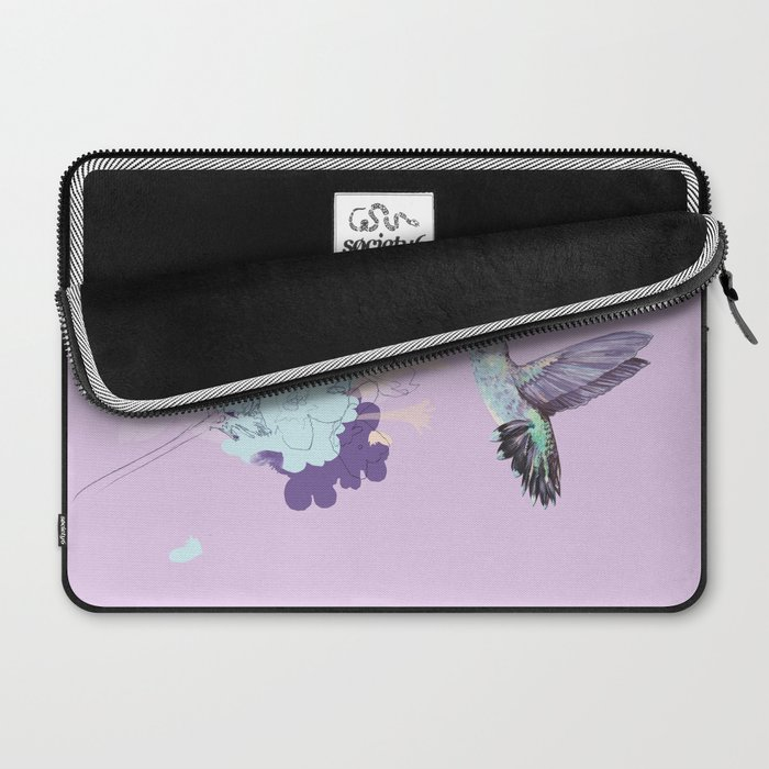 Lavender hummingbird and flower watercolor Laptop Sleeve
