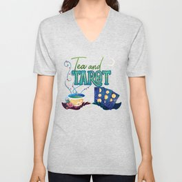 Kelly-Ann Maddox Collection :: Tea and Tarot (Illustrated) Unisex V-Neck