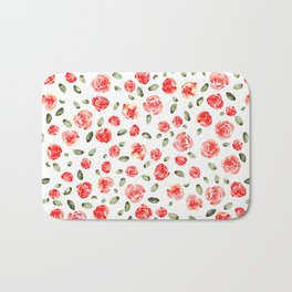 Red Roses Watercolor // Hand Painted Watercolor Floral // Rose Red and Leaf Green Bath Mat