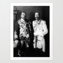 Tsar Nicholas II and King George V - Royal Cousins - 1913 Art Print