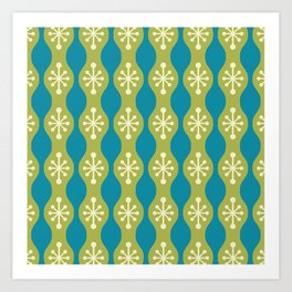 Mid Century Modern 147 Olive Green Beige and Turquoise Art Print