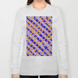 geometric pixel square pattern abstract background in orange blue purple Long Sleeve T-shirt