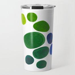 Mid Century Kusama Abstract Minimalist Colorful Pop Art Lime Green Blue Rainbow Ombre Gradient Travel Mug
