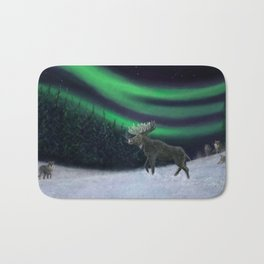 Northern Lights Moose Hunt Bath Mat