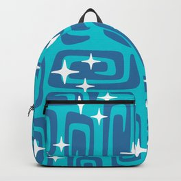 Mid Century Modern Cosmic Galaxies 436 Blue and Turquoise Backpack