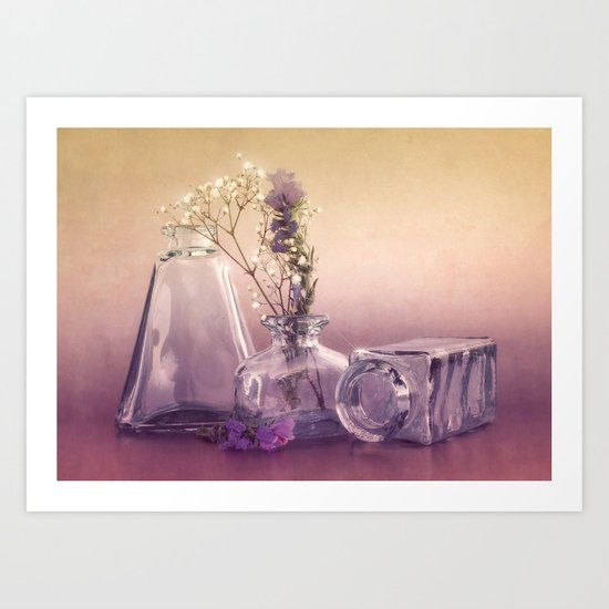 STILL LIFE with purple glass vases and flowers Art Print